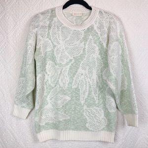 Vintage quarter sleeve Mint Green Floral Knit crew